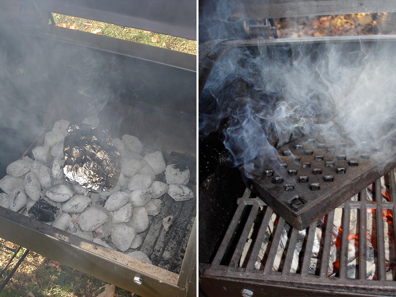 8) Place directly on coal, gas burner or you can use a smoker box